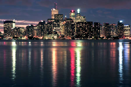 Scenic view at Toronto city waterfront skyline at night photo
