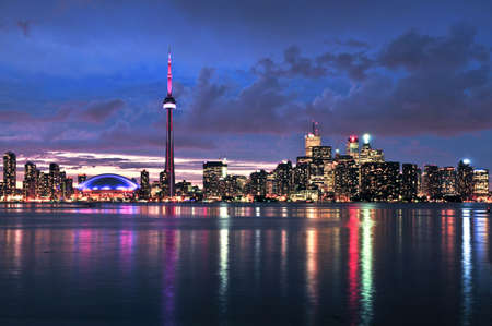 toronto: Scenic view at Toronto city waterfront skyline at night Editorial