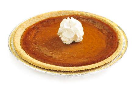 pumpkin pie: Whole pumpkin pie isolated on white background