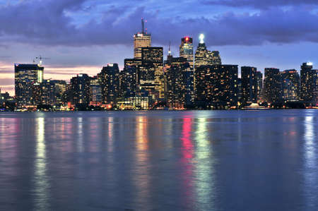 building cn tower: Scenic view at Toronto city waterfront skyline at night Stock Photo