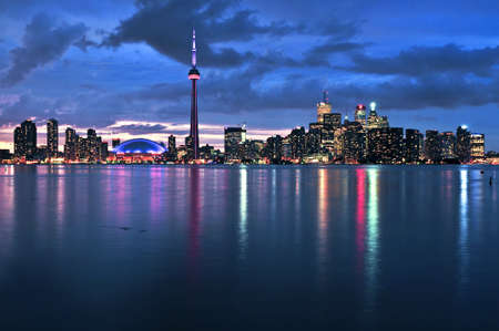 Scenic view at Toronto city waterfront skyline at night Editorial