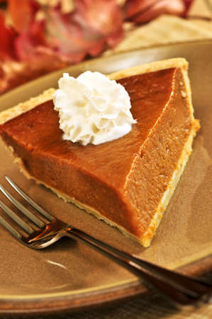 Slice of pumpkin pie with fresh whipped cream photo