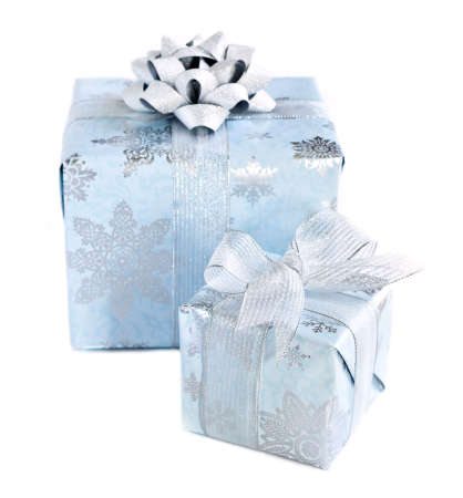 christmas gift: Two wrapped christmas gift boxes isolated on white background