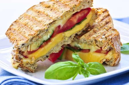 Gegrilde kaas en tomaat broodje op een bord Stockfoto