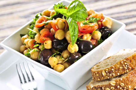 appetiser: Vegetarian meal of chickpea or garbanzo beans salad Stock Photo