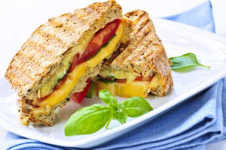 Gegrilde kaas en tomaat sandwich op een plaat