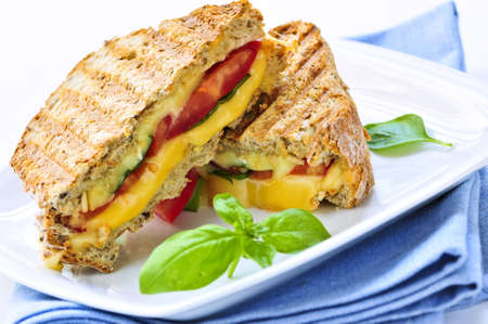 toasted: Grilled cheese and tomato sandwich on a plate