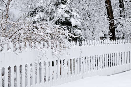 Fence in winter park covered with fresh snow Stock Photo - 3858577