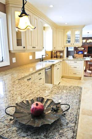 kitchen counter top: Interior of modern luxury kitchen with granite countertop