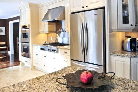 Interior de lujo moderno cocina con electrodomésticos de acero inoxidable