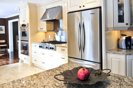 home appliances: Interior of modern luxury kitchen with stainless steel appliances