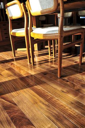 Hardwood walnut floor in residential home dining room Stock Photo - 3930824