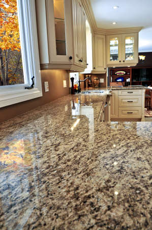 expensive granite: Modern luxury kitchen interior with granite countertop