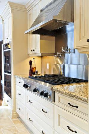 cuisine de luxe: Int�rieur de luxe moderne cuisine avec appareils en acier inoxydable Banque d'images