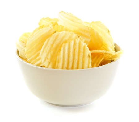 snack: Bowl of potato chips isolated on white background