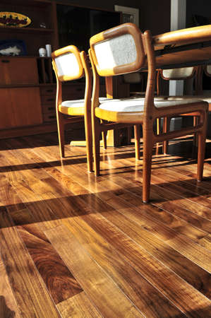 hardwood: Hardwood walnut floor in residential home dining room