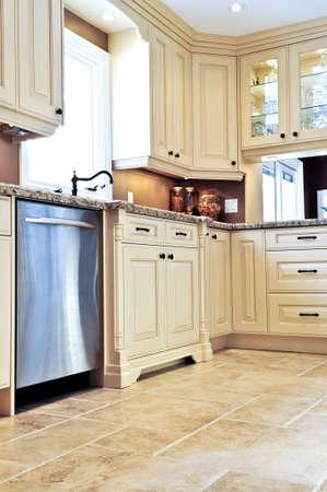 Modern luxury kitchen with ceramic tile floor