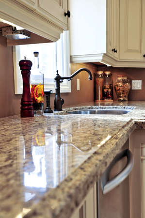 Modern luxury kitchen interior with granite countertop photo