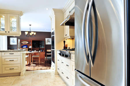 kitchen appliances: Interior of modern luxury kitchen with stainless steel appliances