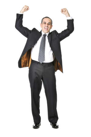 triumphant: Triumphant businessman in a suit isolated on white background