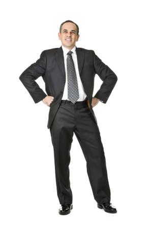 白い背景で隔離のスーツで幸せなビジネスマン