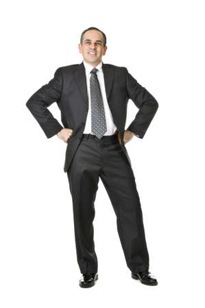 Happy businessman in a suit isolated on white background Foto de archivo