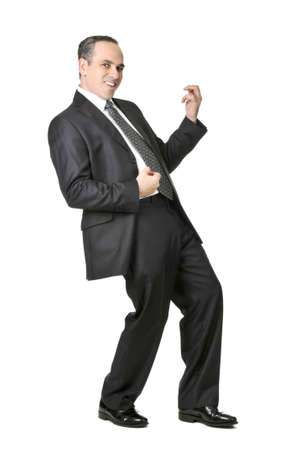 Happy businessman in a suit playing an air guitar isolated on white background Stock Photo
