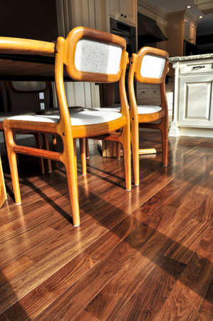 Hardwood walnut floor in residential home dining room Stock Photo - 4015669