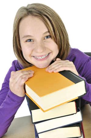 schulm�dchen: Happy Teenager-M�dchen studiert an der Rezeption Lizenzfreie Bilder