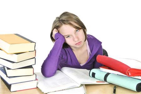 Teenager-Mädchen unglücklich Studium an der Rezeption Standard-Bild