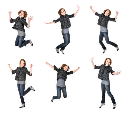 Teenage girl jumping isolated on white background, several poses Stock Photo