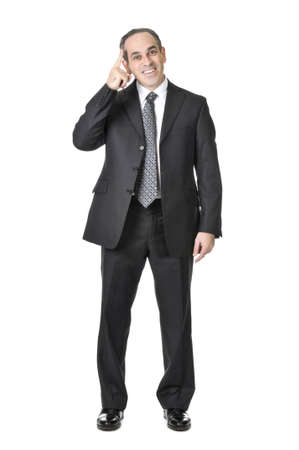 Happy businessman in a suit having an idea isolated on white background Stock Photo - 4040572