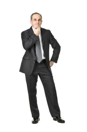 Thinking businessman in a suit isolated on white background Stock Photo - 4040565