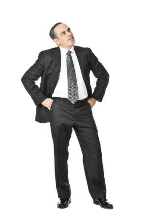 expression corporelle: Penser l'homme d'affaires en costume isol� sur fond blanc
