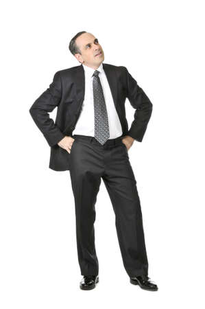full face: Thinking businessman in a suit isolated on white background