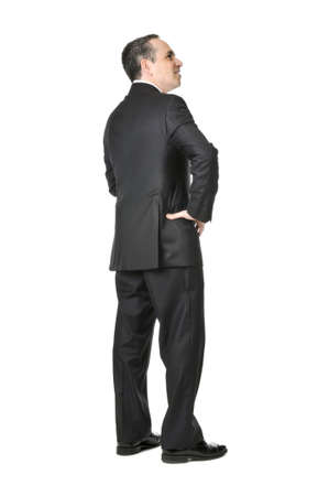 Happy businessman in a suit isolated on white background Banque d'images