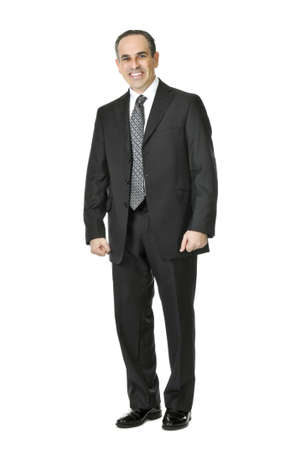 Happy businessman in a suit isolated on white background Stock Photo
