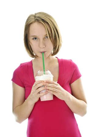 slushy: Teenage drinking strawberry milkshake isolated on white background