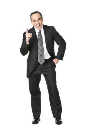 Happy businessman in a suit having an idea isolated on white background photo
