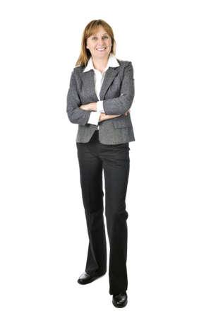 Happy lachende zakenvrouw geïsoleerd op witte achtergrond