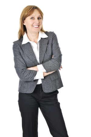 Happy smiling businesswoman isolated on white background photo