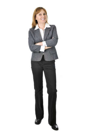 woman full body: Happy smiling businesswoman isolated on white background Stock Photo