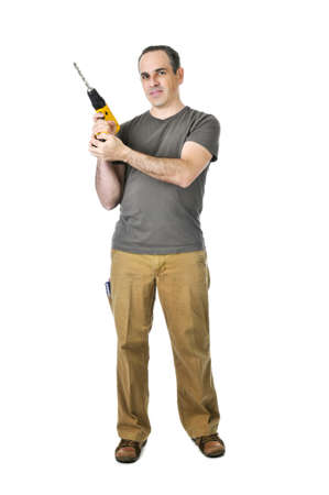 Confident handyman ready to work holding a drill Stock Photo - 4160290