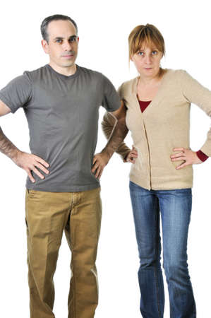 Angry parents stare with disappointment at the camera Stock Photo - 4160392