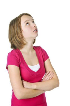 disrespectful: Teenage girl rolling her eyes in frustration Stock Photo