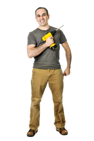 Smiling handyman ready to work holding a drill Stock Photo - 4184536