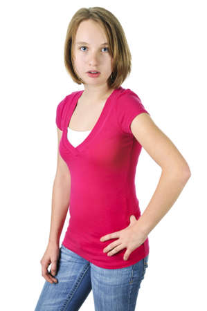 Teenage girl showing attitude isolated on white background