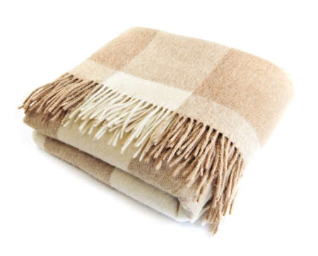 Zacht en warm gevouwen alpaca wollen deken met franje Stockfoto