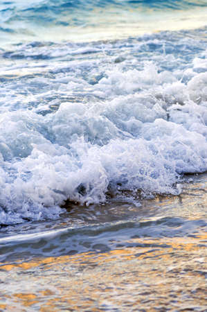 crashing: Tropical Caribbean sea waves breaking on the shore