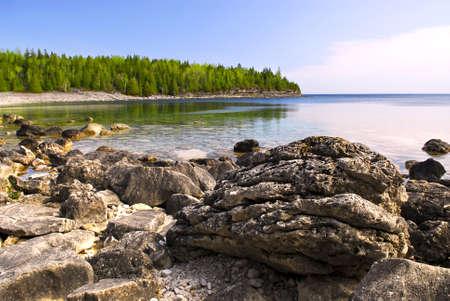 peninsula: Rocks in clear water of Georgian Bay at Bruce peninsula Ontario Canada